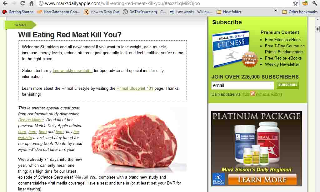 Mark's Daily Apple: Will Eating Red Meat Kill You?