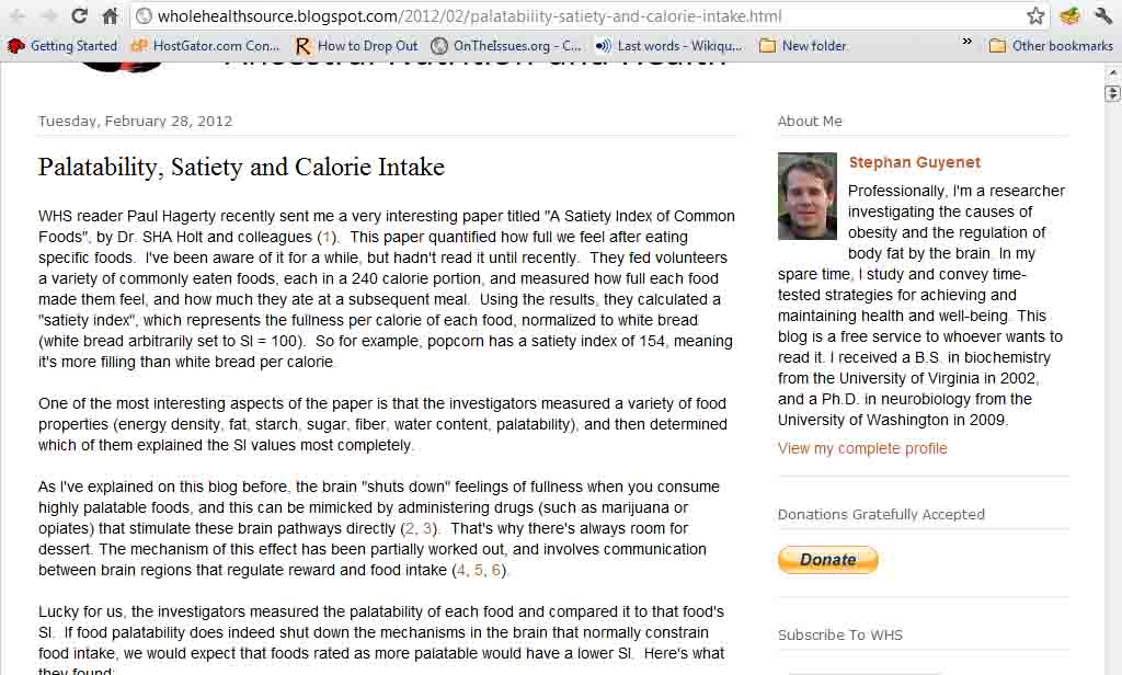 Whole Health Source: Palatability, Satiety and Calorie Intake